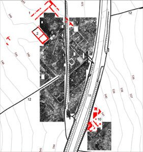 Results of the 2008 GPR survey of the forum area and the forum baths (illustration by L. Verdonck)