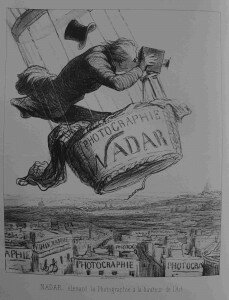 "Caption: Nadar élevant la Photographie à la hauteur de l'Art"" (Nadar elevating Photography to Art). Lithograph by Honore Daumier, appearing in Le Boulevard, May 25, 1863. (Honoré Daumier, DR 3248 copyright: www.daumier-register.org)"