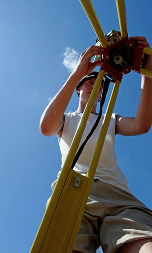 Setting up the total station (photograph by G. Verhoeven)