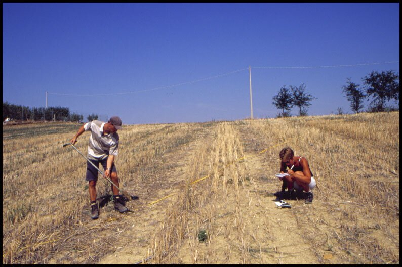 Coring on a site to establish the erosion processes and to delineate the stratigraphy